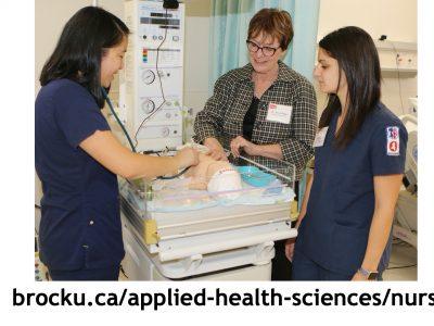 Brock Nursing students in a lab