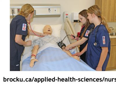 Nursing students learn using a patient simulator