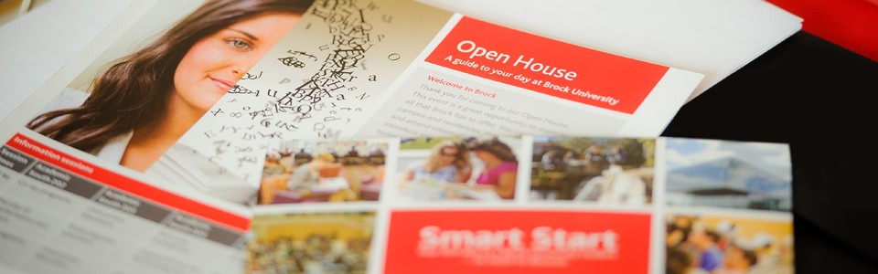 Promotional materials for the Open House event at Brock University
