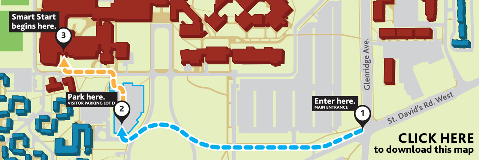 Smart Start - Parking Map for 2015 - Park in Visitor Parking Lot D, Walk to Walker Complex