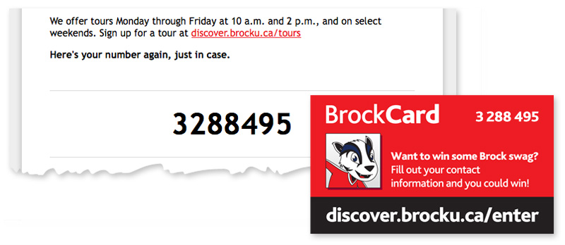 Examples of where you'd find your Brock Card numbers