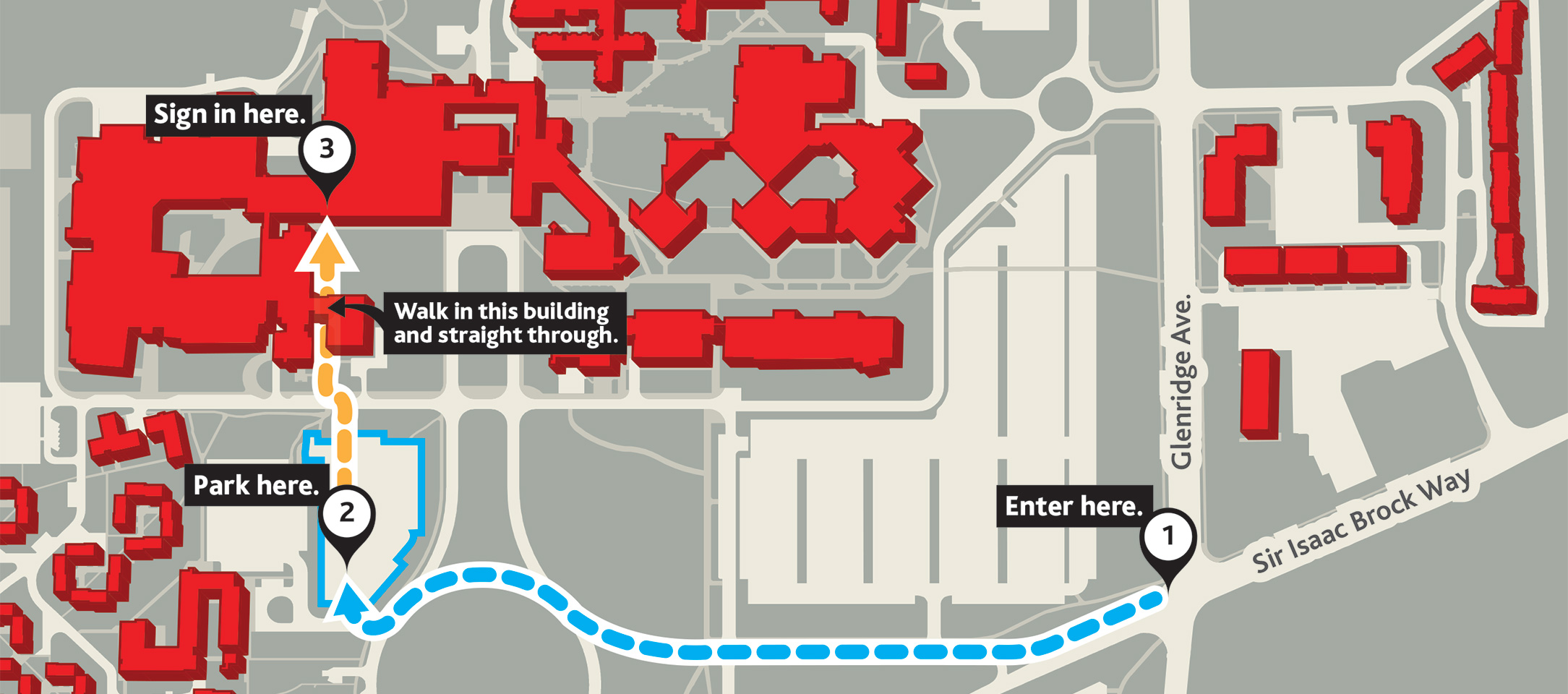 Map showing the Brock University campus, parking in Lot D and the start of the day in the Sean O'Sullivan Theatre