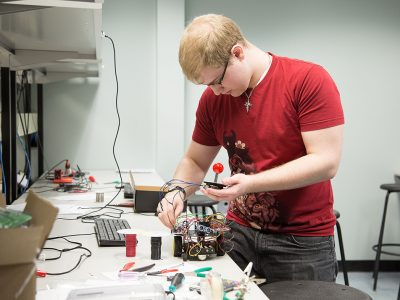 Student building robot