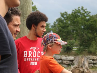 Brock student with community members