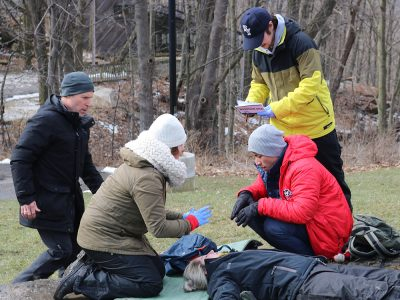 Students learning in the outdoors
