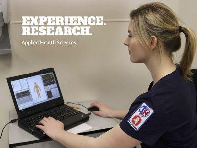 Nursing student on computer