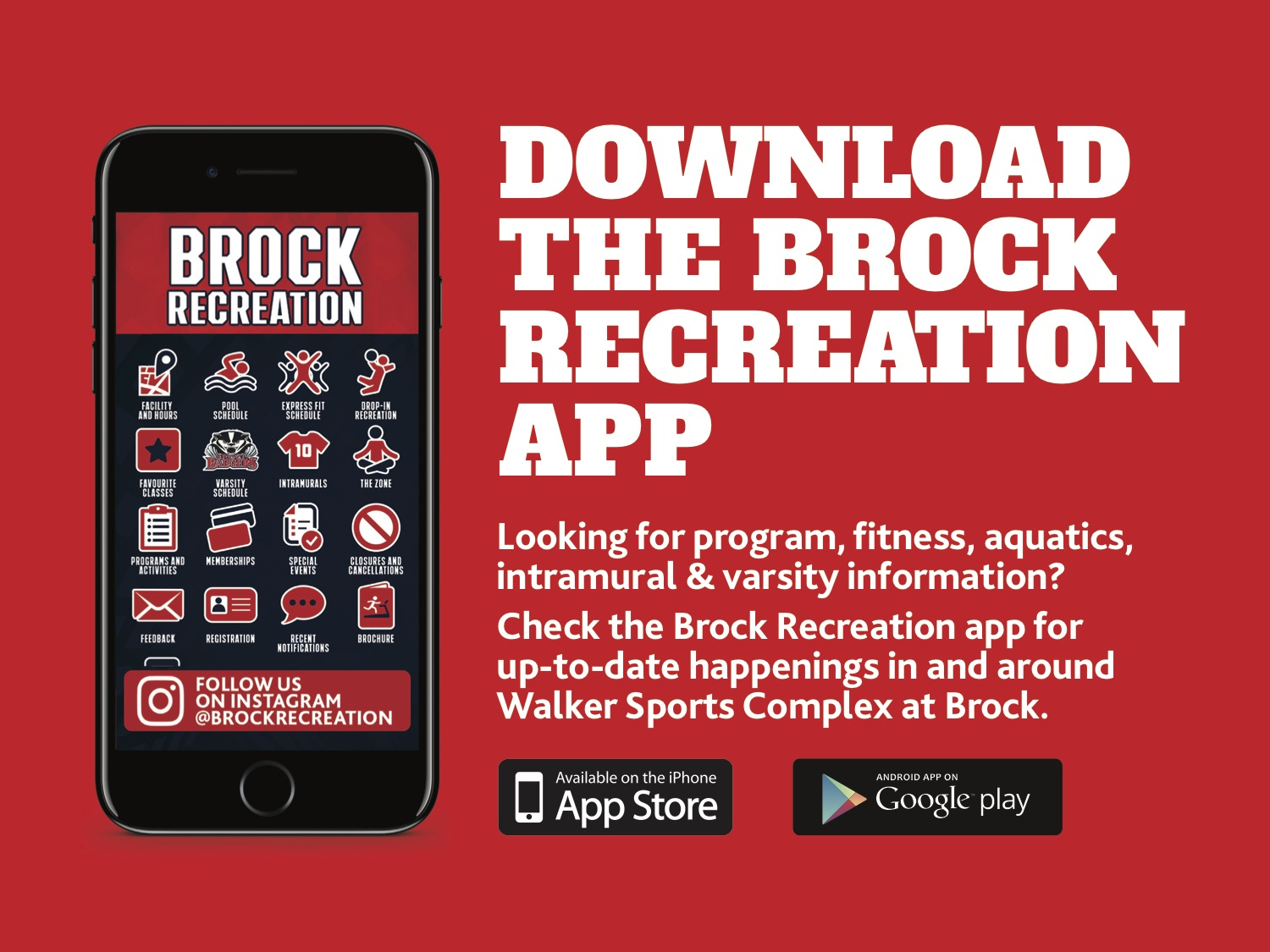 Download the Brock Recreation App