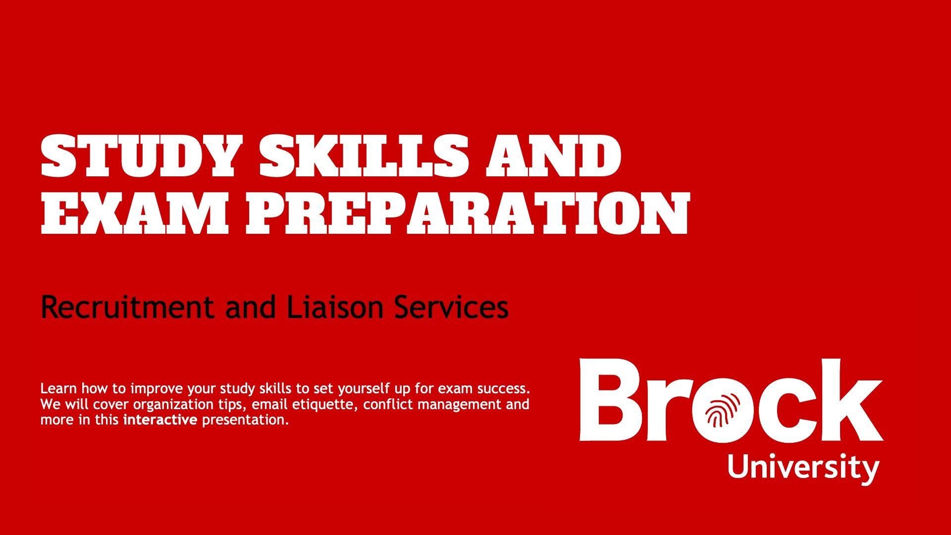 Study skills and exam preparation