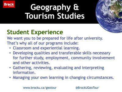 Geography and Tourism Studies Student Experience Slide