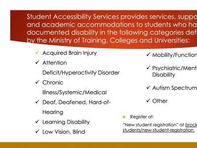 Student Accessibility Services provided services
