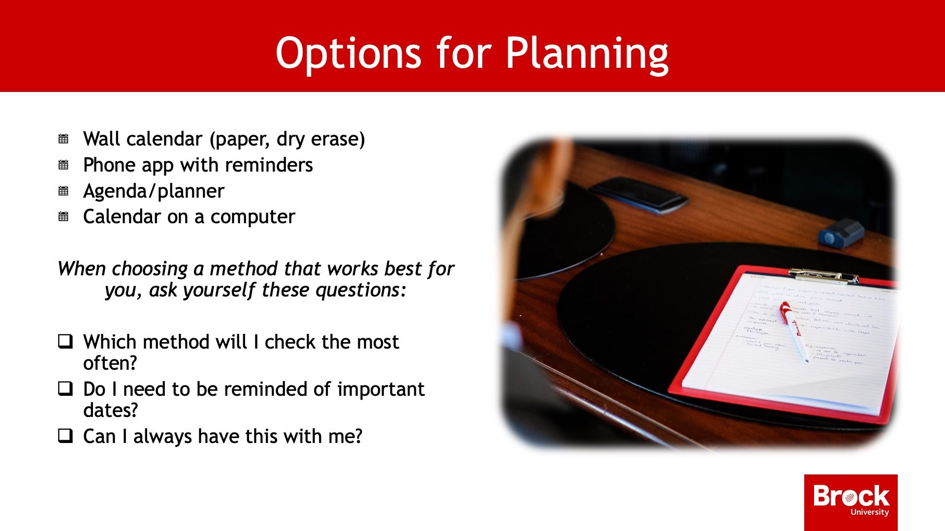 Options for planning