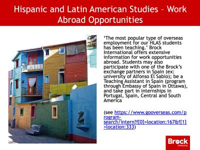 Work abroad opportunities for Hispanic and Latin American studies