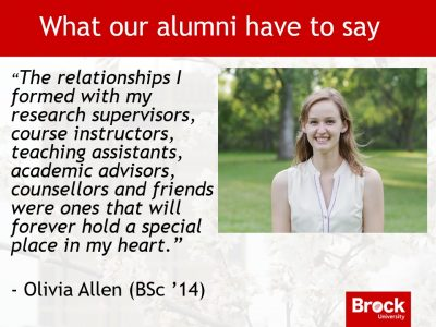 Alumni message from Olivia Allen