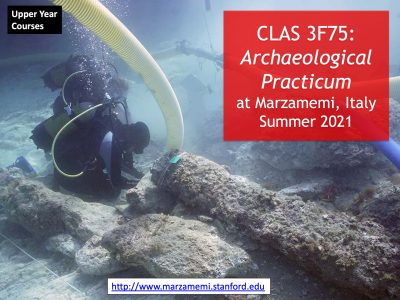 Classics slide with archaeology course info