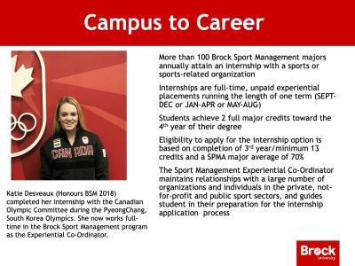 Sport Management Campus to Career slide