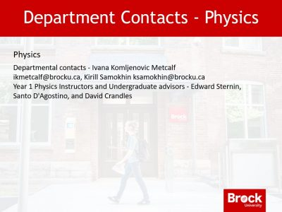 Department contacts - Physics
