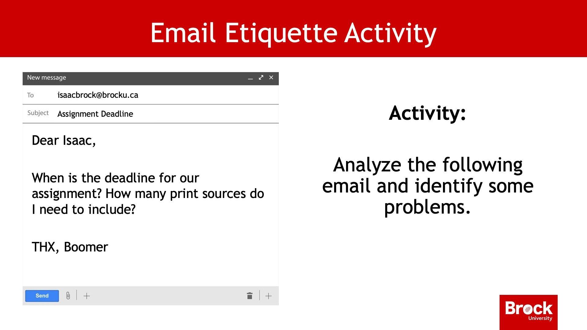 Email etiquette activity
