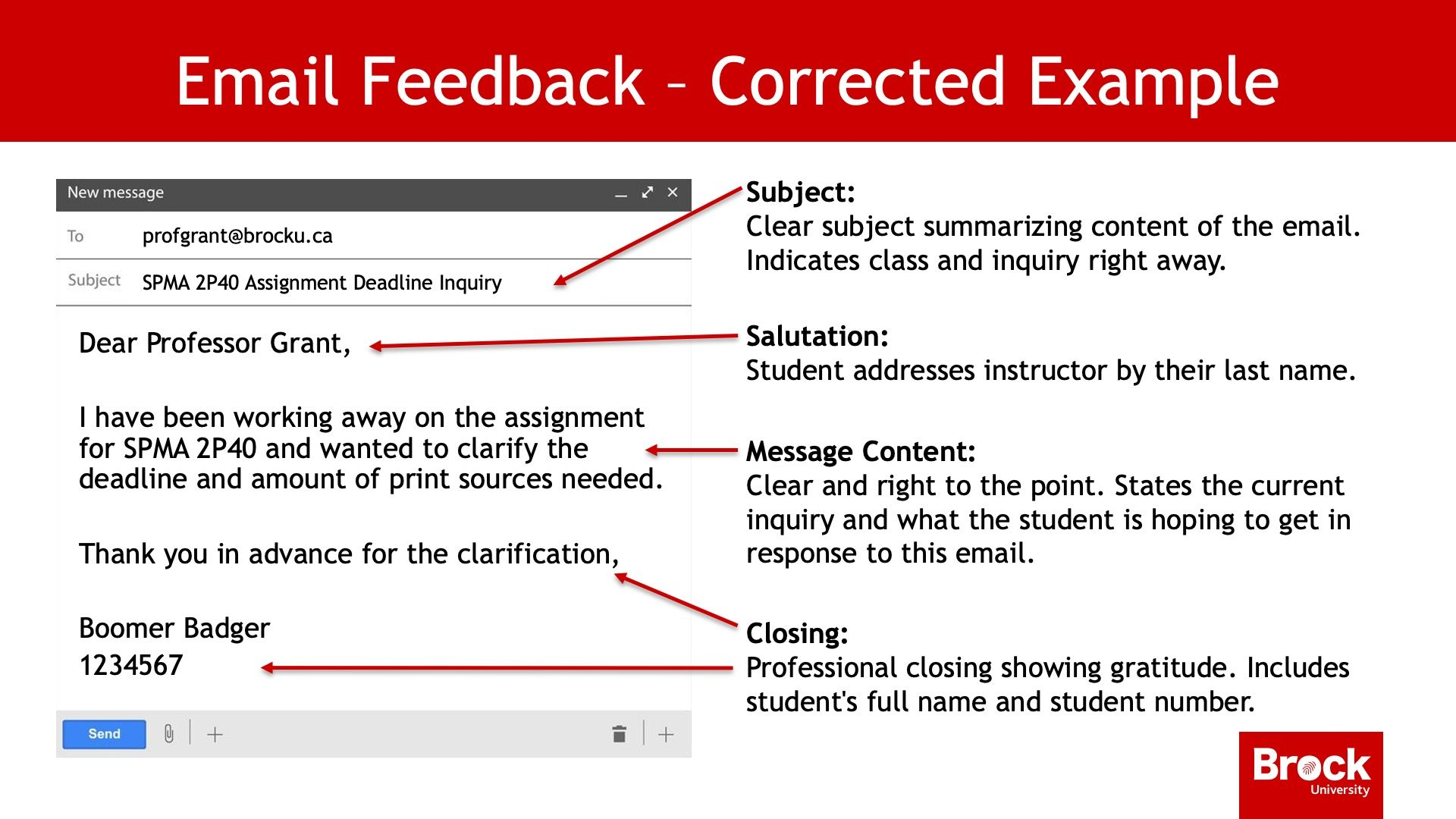 Email feedback - corrected example