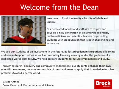 A welcome from the Dean of Mathematics and Science