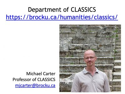 Contact info for Michael Carter, Faculty member in Classics department