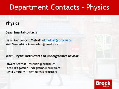 Department of Physics Contact Slide