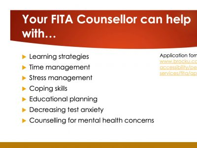 What your FITA counsellor can help with