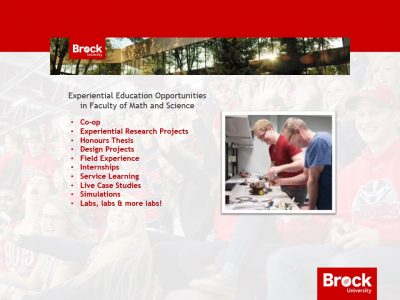 Experiential Education opportunities in the Faculty of Mathematics and Science