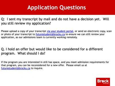 Admissions FAQ Slide
