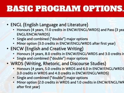 Department of English Program Options Slide