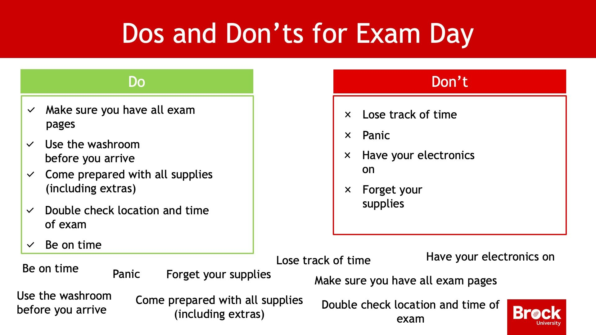 Dos and Don'ts for exam day