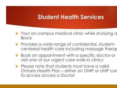 Information about Student Health Services