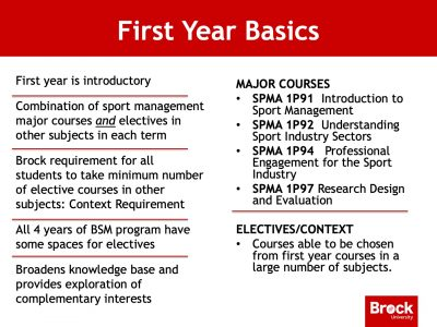Sport Management first year courses slide