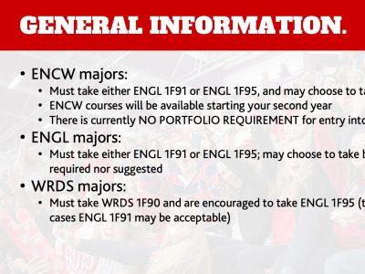 Department of English General Information Slide