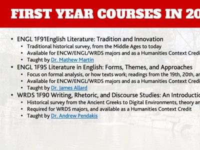 Department of English First Year Courses Slide