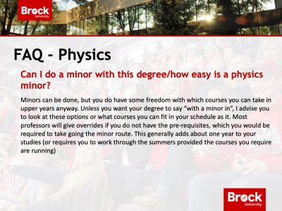Department of Physics FAQ Slide