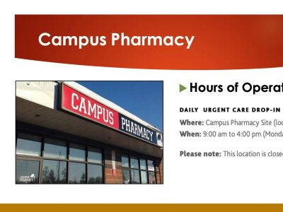 Campus Pharmacy location and hours