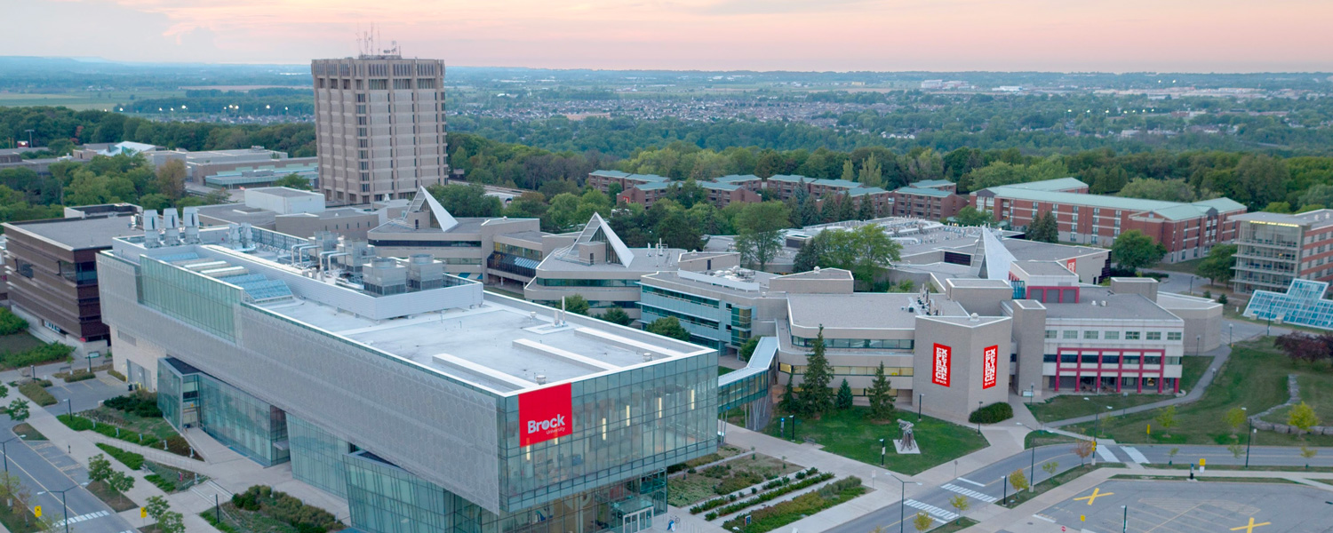 An aerial photo of the Brock campus