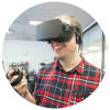 A Humanities student testing out a VR system