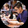 Humanities students studying