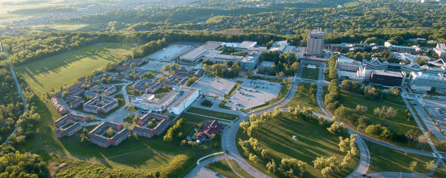 An aerial view of Brock University's campus