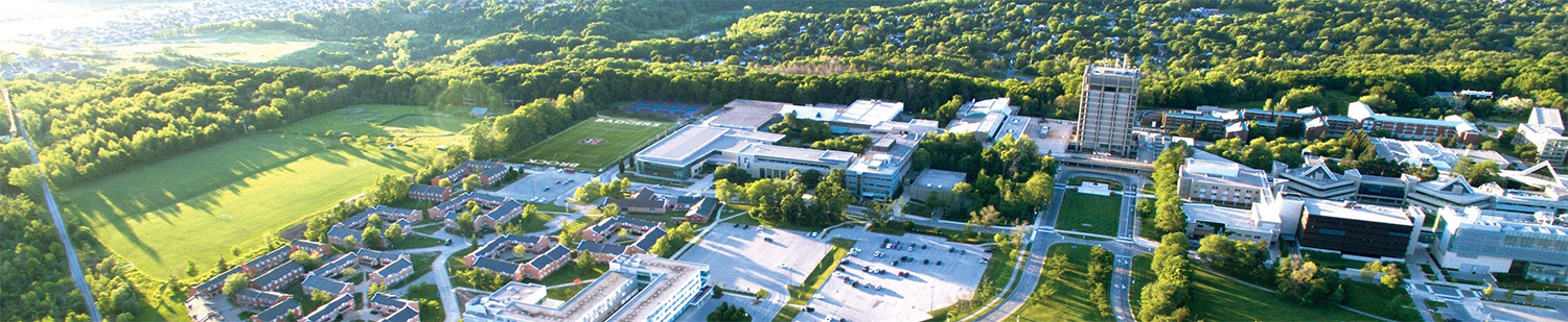 An aerial photo of Brock University's campus