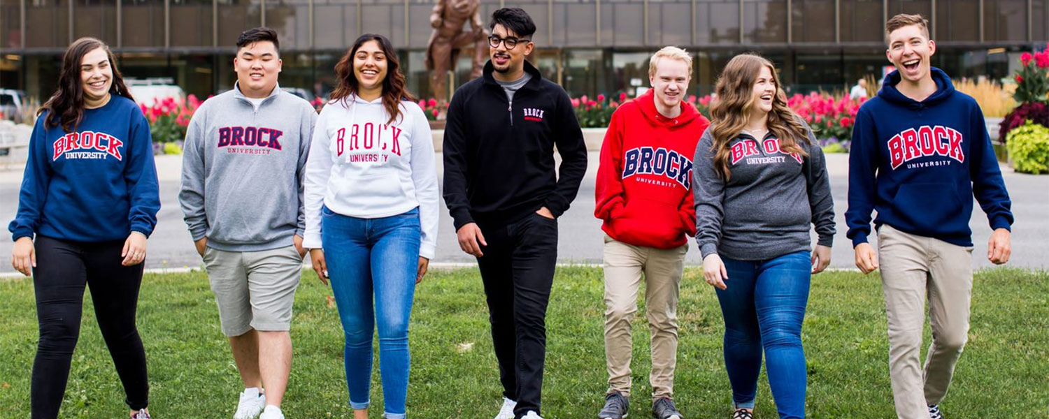 a group of brock students on campus