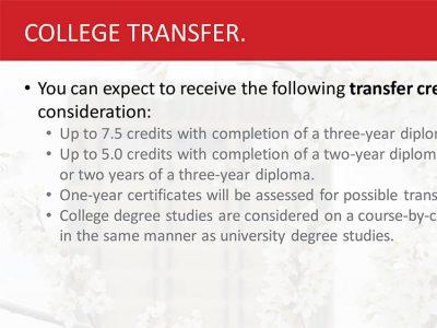 College Transfer Admissions Slide