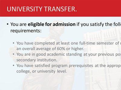 University Transfer Admissions Slide