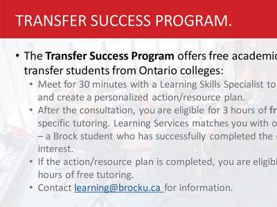 Transfer Success Program Slide