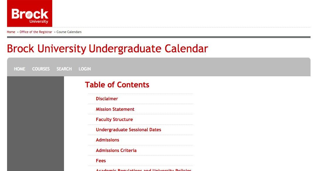 Brock University Undergraduate Calendar