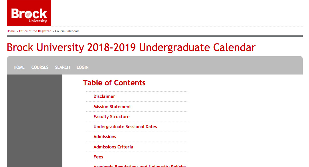 The Brock University web calendar